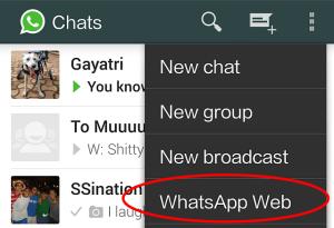 Configurações whatsapp web